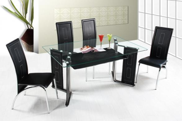 modern dining room table-glass countertop