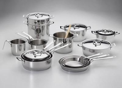variety of pots and pans-stainless steel