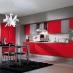 modern kitchen design-red cabinets