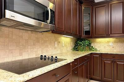 kitchen tiles design-brown cabinets