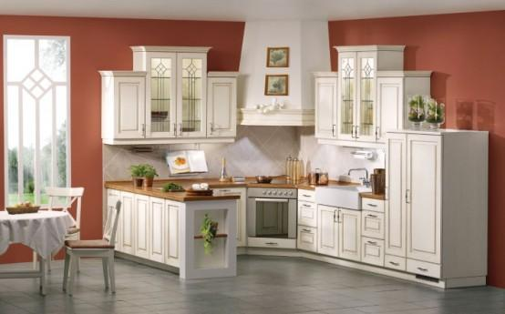 classic white kitchen design in white wooden countertops