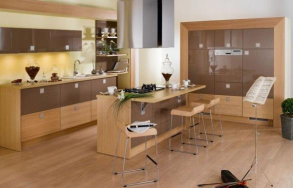 kitchen design and decoration in brown