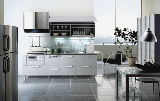 elegant kitchen design-white gray and black
