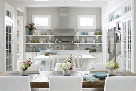 contemporary kitchen shelves in white-decoration