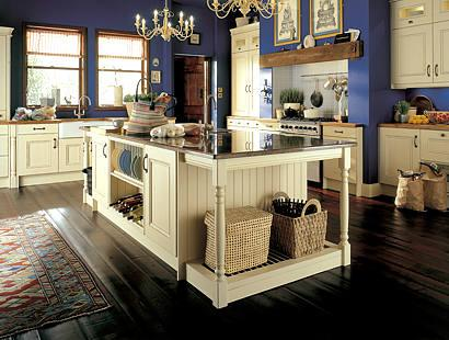 clasic kitchen-white wooden cabinets-blue walls