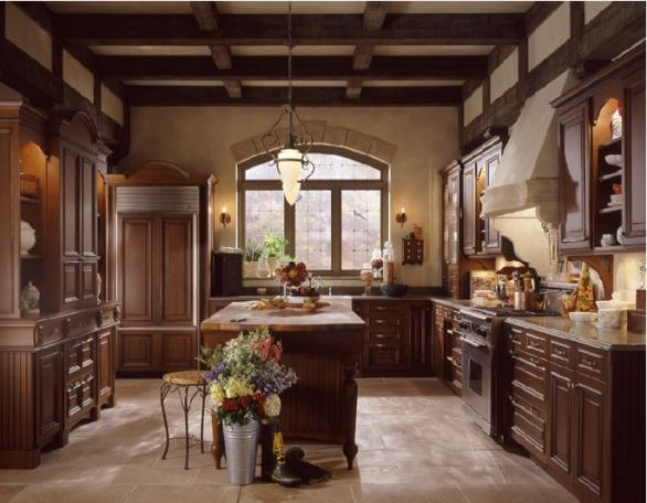 classic wooden cabinets-brown island-luxury kitchen