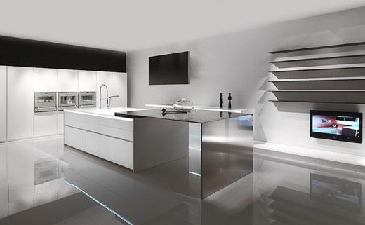modern kitchen with contemporary design in white -stainless steel