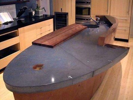 modern countertop-concrete-wood-black