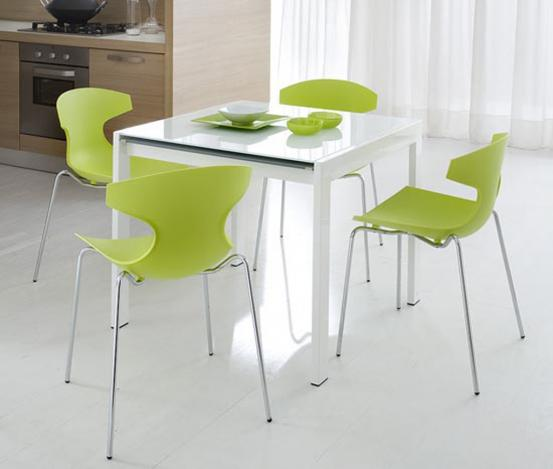 contemporary green modern chairs white table