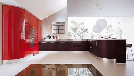 contemporary kitchen design in black and red
