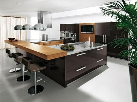 modern kitchen design-kitchen island-wood