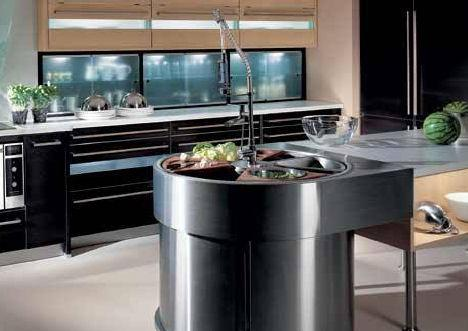 modern kitchen interior design-curve kitchen island-black and white
