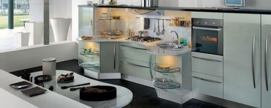 modern curved kitchen deisgn and decoration