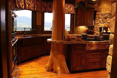 rustic kitchen design-natural wood