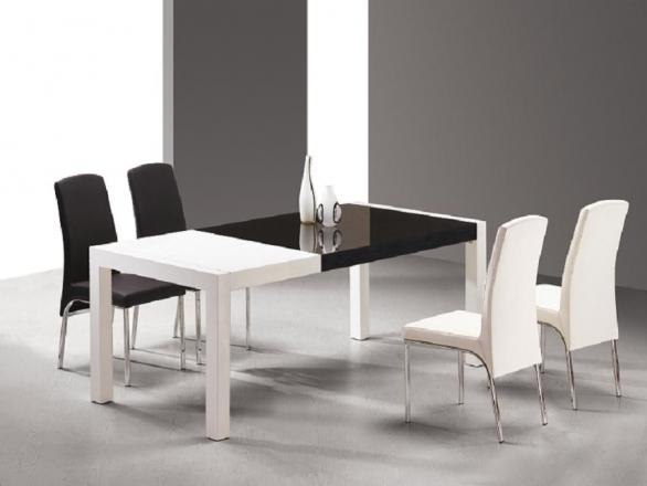 modern black and white dining room table