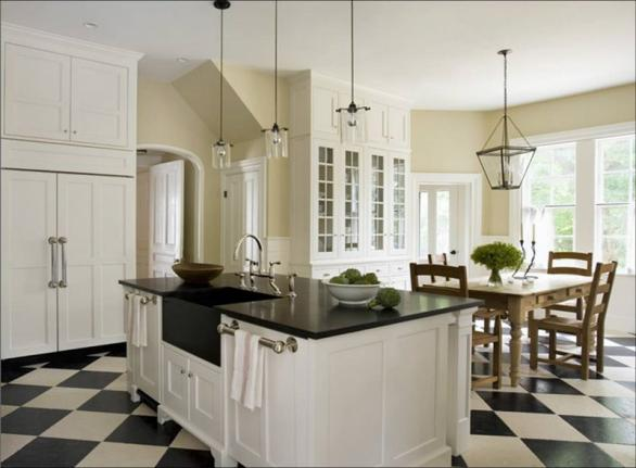 white kitchen-black and white floor-dark countertops