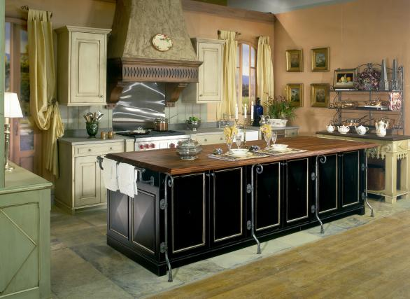 french country kitchen design-black island