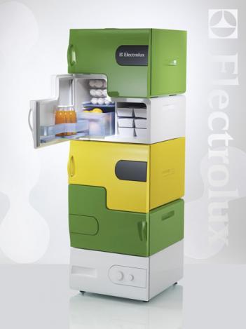 modern kitchen refrigerator-green-yellow