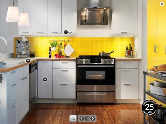 elegante  bunte Küche in gelb und weiß-Design