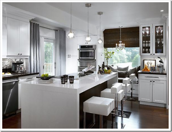 contemporary kitchen-white kitchen island