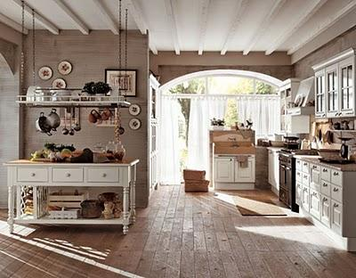 country kitchen-wood ceiling-wooden beams