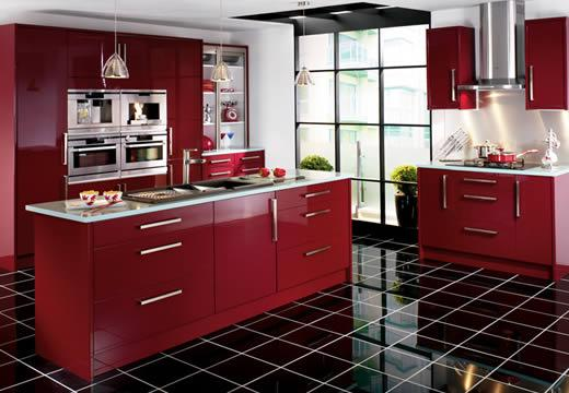 red kitchen furniture-black floor-design and decoration