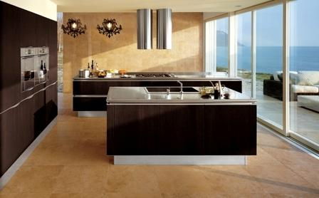 luxury kitchen with modern devicesand big windows