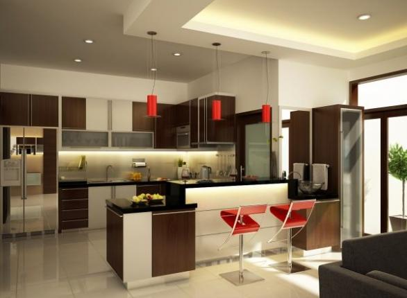luxury kitchen design-red lamp-kitchen island