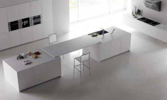 white modern kitchen island design