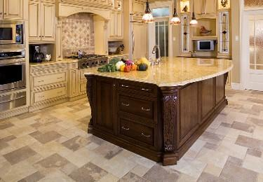 kitchen with vinyl tiles in classic style