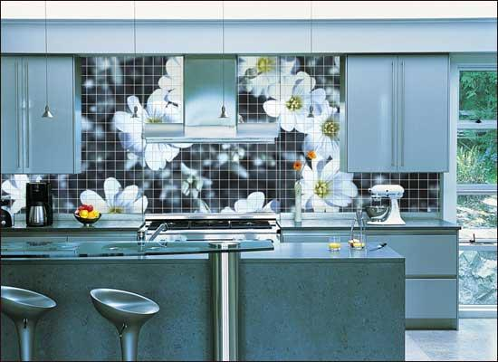 modern kitchen with cheap ceramic tiles-flower motif