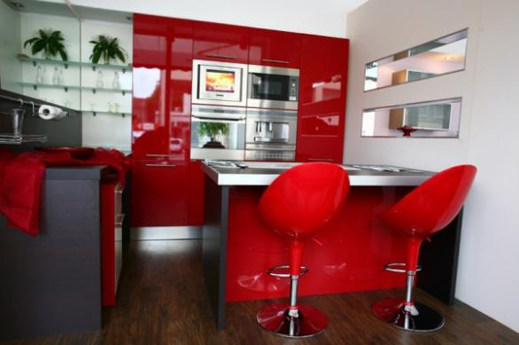 modern red seating for kitchen island -red kitchen ideas