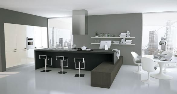 feng shui kitchen-black and white design