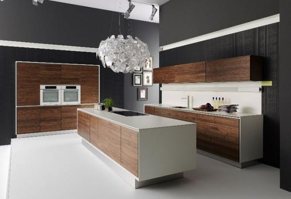 modern kitchen island-wood white countertops