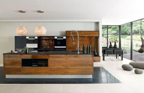 luxury modern kitchen-big windows-wooden cabinets