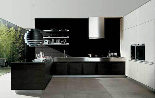modern kitchen interior design-black