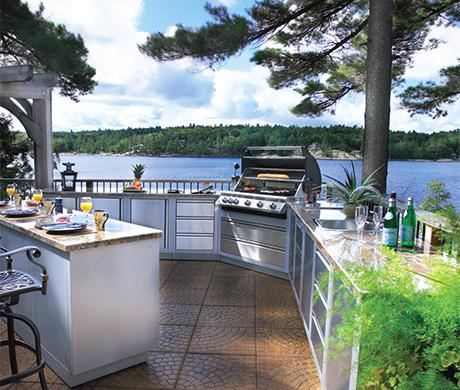 modern outdoor kitchen near the lake