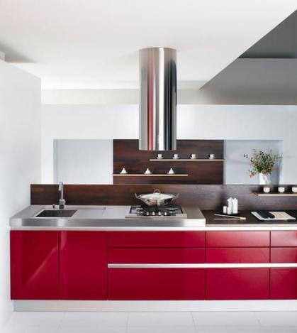 rot-weiß-Küche-Design