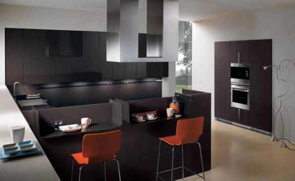 small modern kitchen-design-black