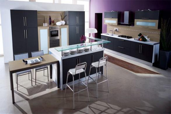 modern kitchen with purple wall-metal chair