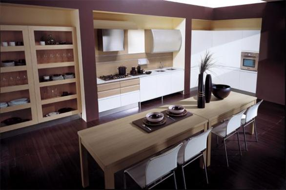 moern kitchen interior desig in purple with wooden cabinets