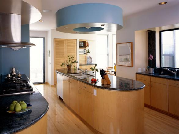 modern kitchen design-curved kitchen island