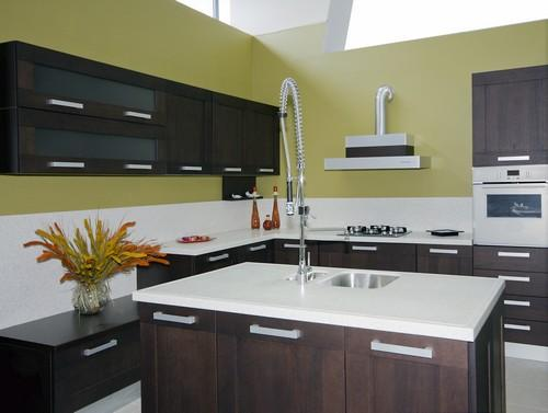 modern kitchen-dark wooden cabinets-white countertops