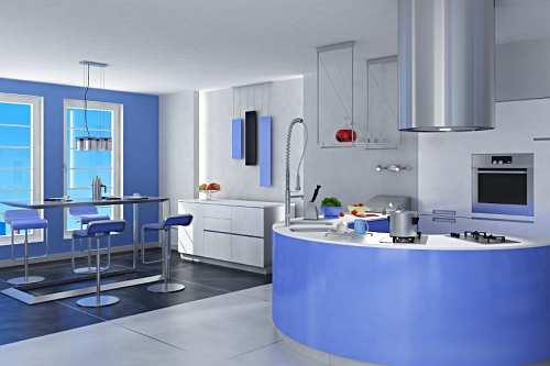 modern kitchen in blue and white-curve kitchen island