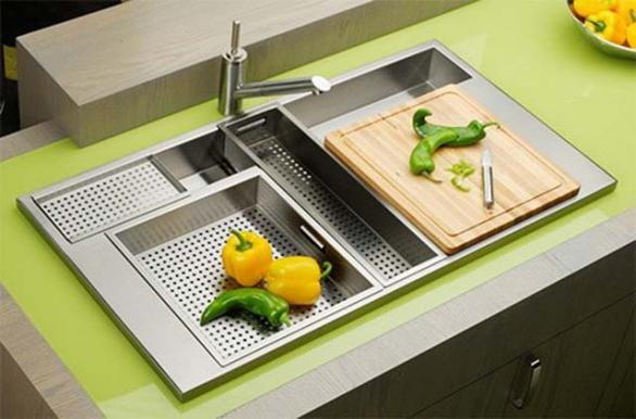 contemporary kitchen sink-green-stainless steel