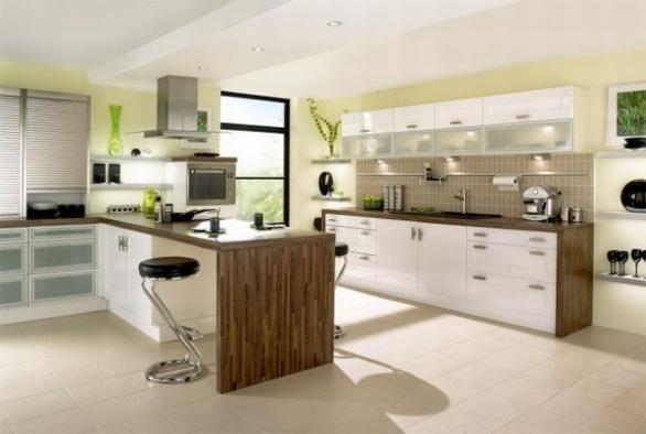 modern kitchen interior design in green-cintemporary chairs