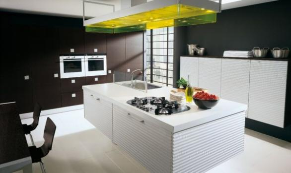 kitchen design in black and white-interesting kitchen island