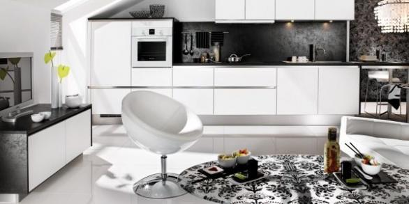 modern kitchen in black and white