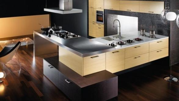modern kitchen design-stainless steel-dark wood floor
