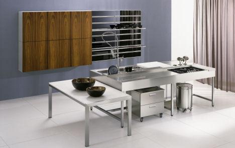 modern kitchen design-stainless steel-wood cabinets